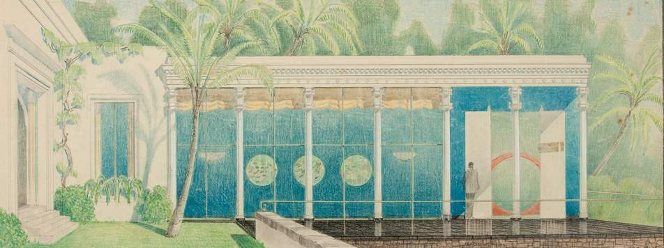 Drawing of the dining room, depicting its original aquatic theme, late 1938. H. Drewry Baker, Wyeth & King, Architects. Shangri La Historical Archives, Doris Duke Foundation for Islamic Art, Honolulu, Hawai'i.